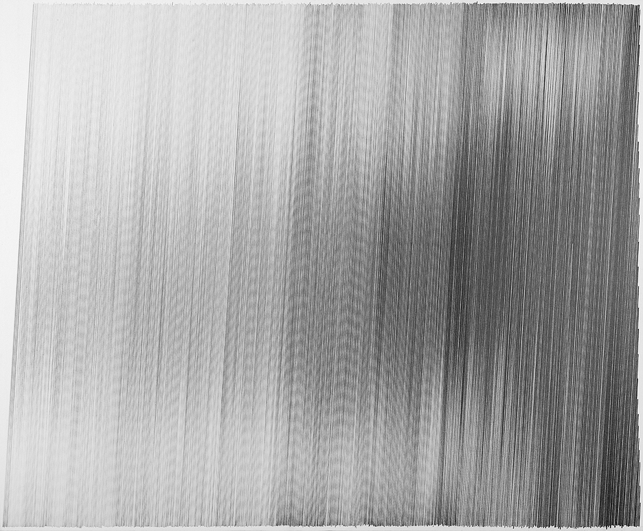motion drawing 04  2009 graphite on cotton mat board 34 by 28 inches