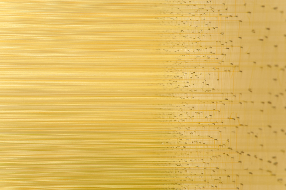 raume yellow  2010 Egyptian cotton thread, staples 7 by 14 by 7 feet shown in  Museum Interrupted  at the Nerman Museum of Contemporary Art