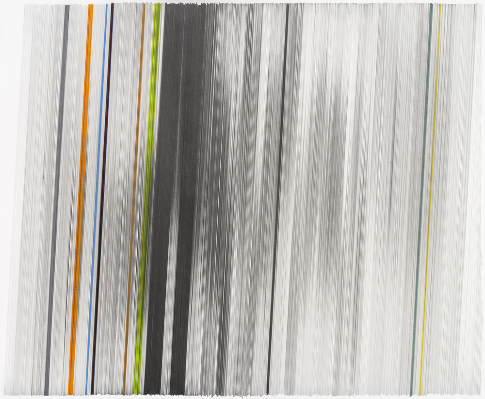 motion drawing 38   2014   graphite & colored pencil on mat board   34 by 28 inches