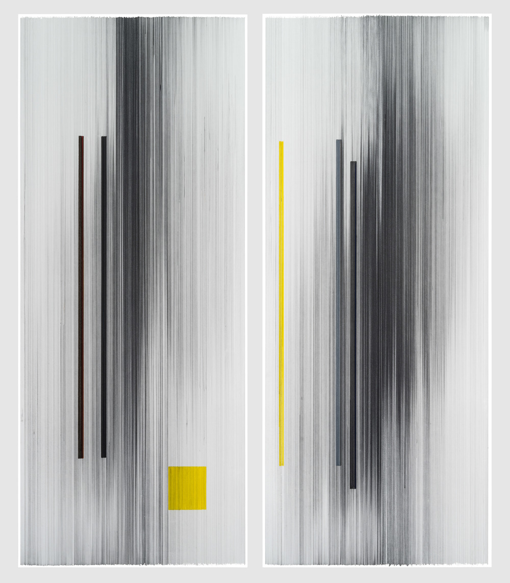 notations 15   2016   graphite & colored pencil on mat board   48 by 58 inches (two panels)