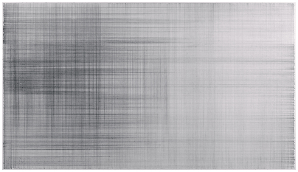 "Anne Lindberg, ""linen drawing 01,"" 2011 graphite on cotton mat board, 42 by 24 inches"