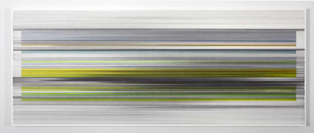 "Anne Lindberg, ""folding 03,"" 2016, graphite & colored pencil on mat board, 24 by 60 inches"