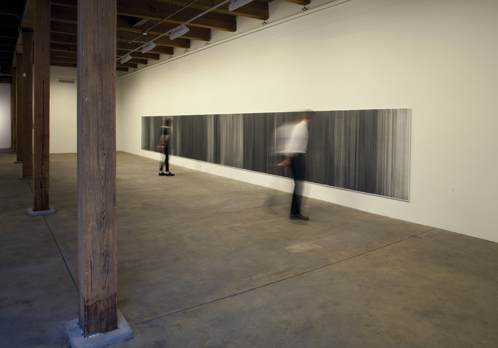 drawn below   2015   graphite on mat board   31.5 feet by 59 inches