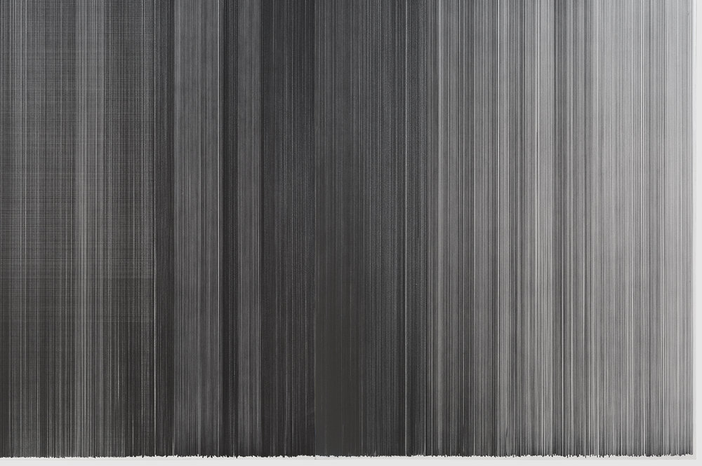 drawn below   (detajl) 2015   graphite on mat board   31.5 feet by 59 inches