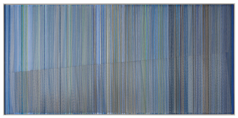 Anne Lindberg, interminable present, 2016 graphite and colored pencil on mat board, 24 by 50 inches