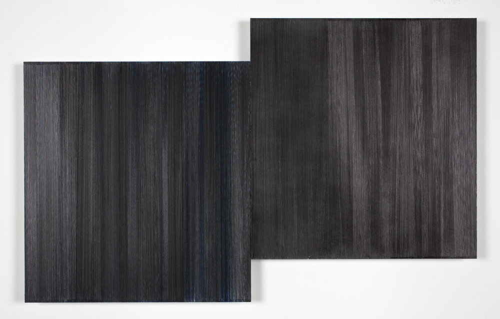 "Anne Lindberg | two black trees, 2016 | graphite and colored pencil on mat board | 24"" x 36"""