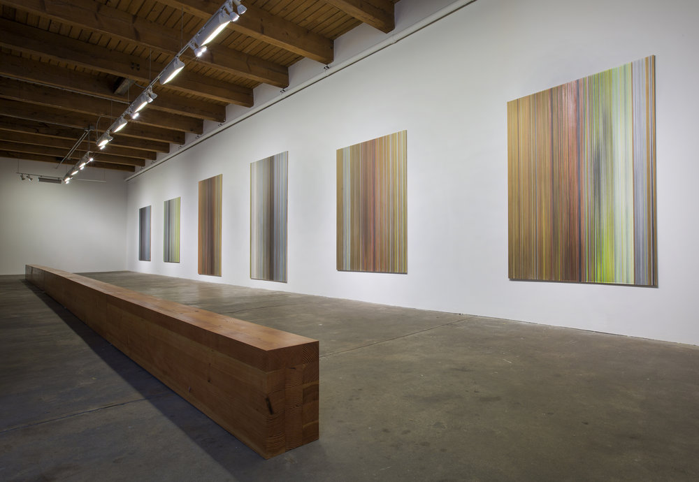 installation view of   walking as I stand   six drawings and   axis   10.5 inches by 17.5 inches by 50ft  Douglas fir