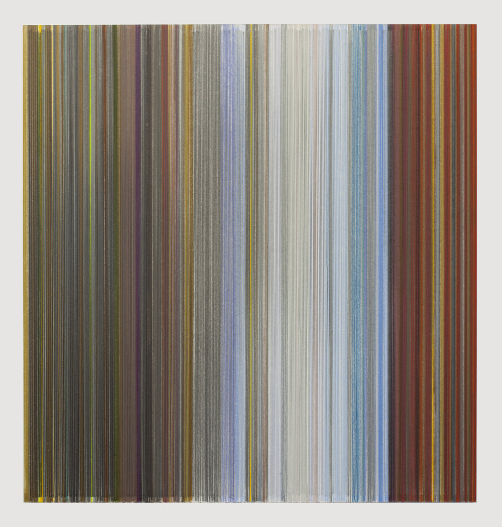 Anne Lindberg,   for the feet as for the eyes  , 2017 graphite and colored pencil on mat board, 19 by 18 inches, title is from words of Friedrich Nietzsche, April 1888