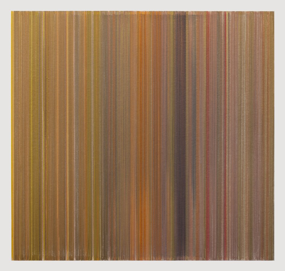 Anne Lindberg,   vertigo  , 2017 graphite and colored pencil on mat board, 19 by 18 inches