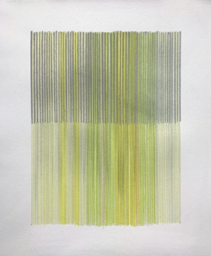 Anne Lindberg -  untitled 180326 , graphite and colored pencil on cotton paper, 10 by 12 inches
