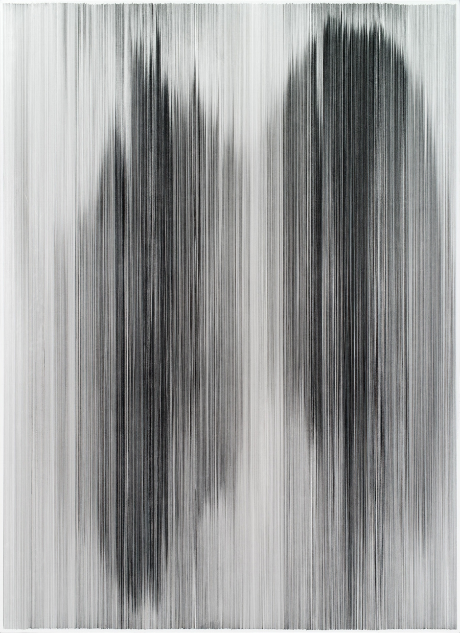 Anne Lindberg, parallel 38, 2013 graphite on cotton mat board, 80 by 60 inches, photography by EG Schempf, Howard and Cindy Rachofsky Collection