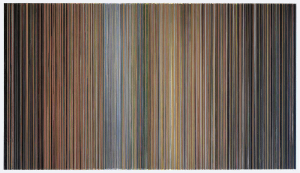 Anne Lindberg,   It steals upon you when it steals upon you  , 2018 graphite and colored pencil on mat board, 59 by 103 inches - title from Verlyn Klinkenborg's  More Scenes from Rural Life , Princeton Architectural Press, 2013, page 175
