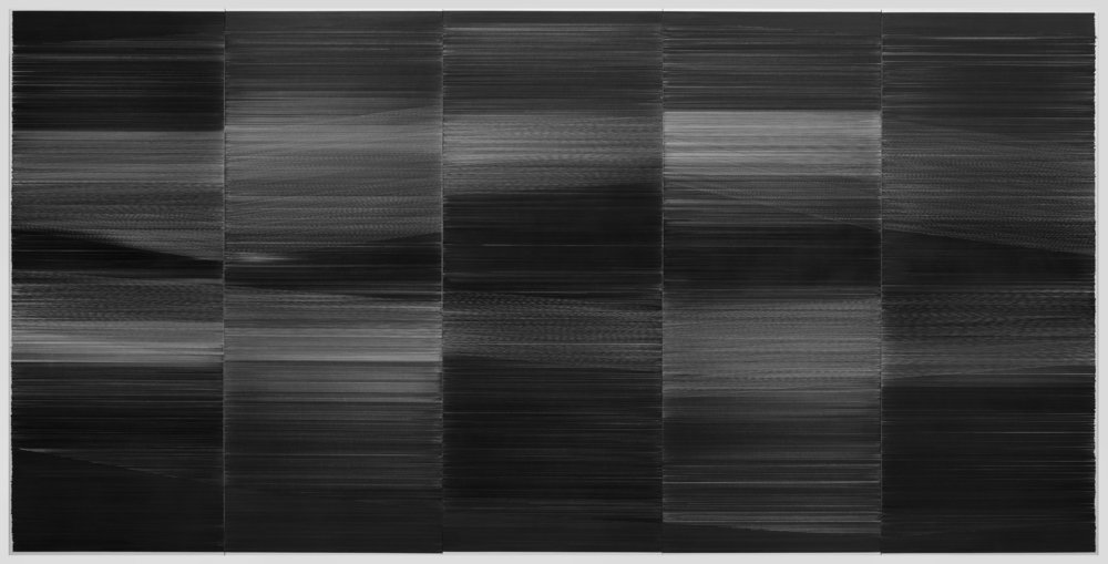 field drawing 04  2016 graphite on mat board, integrated wood frame 120 by 60 by 3 inches