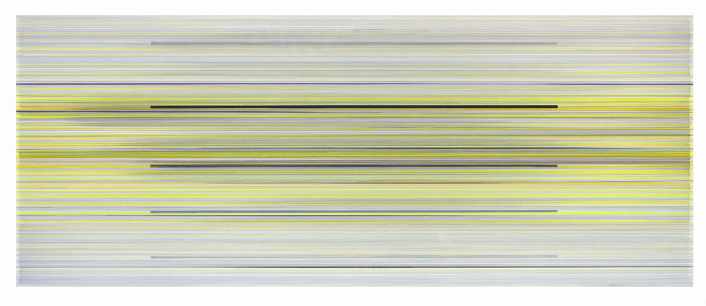 the unopened time  2019 graphite and colored pencil on mat board 24 by 60 inches