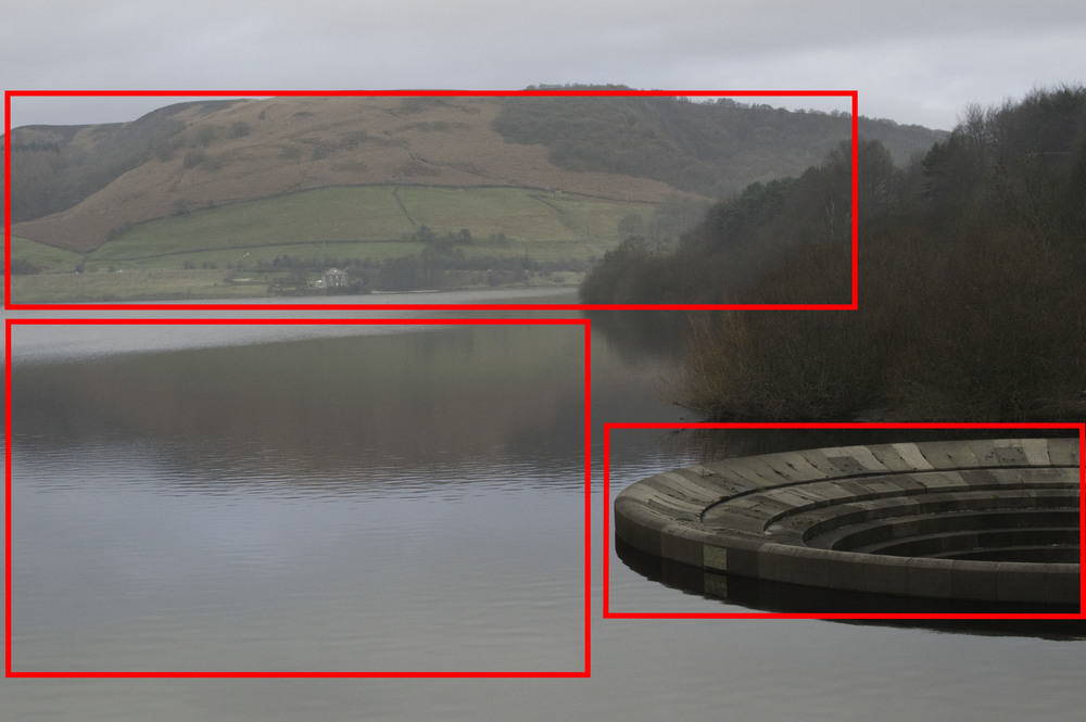 Picture 1. In this image of Ladybower Reservoir in Derbyshire, I have highlighted three components which contribute to the overall balance in the image: the overflow in the foreground, the body of water and the hillside in the background. The overflow has more contrast and tonality, is at the edge of the frame and is in the foreground, giving it more weight. The creates a balance image even though the bulk of the weight appears to be on the left of the frame.