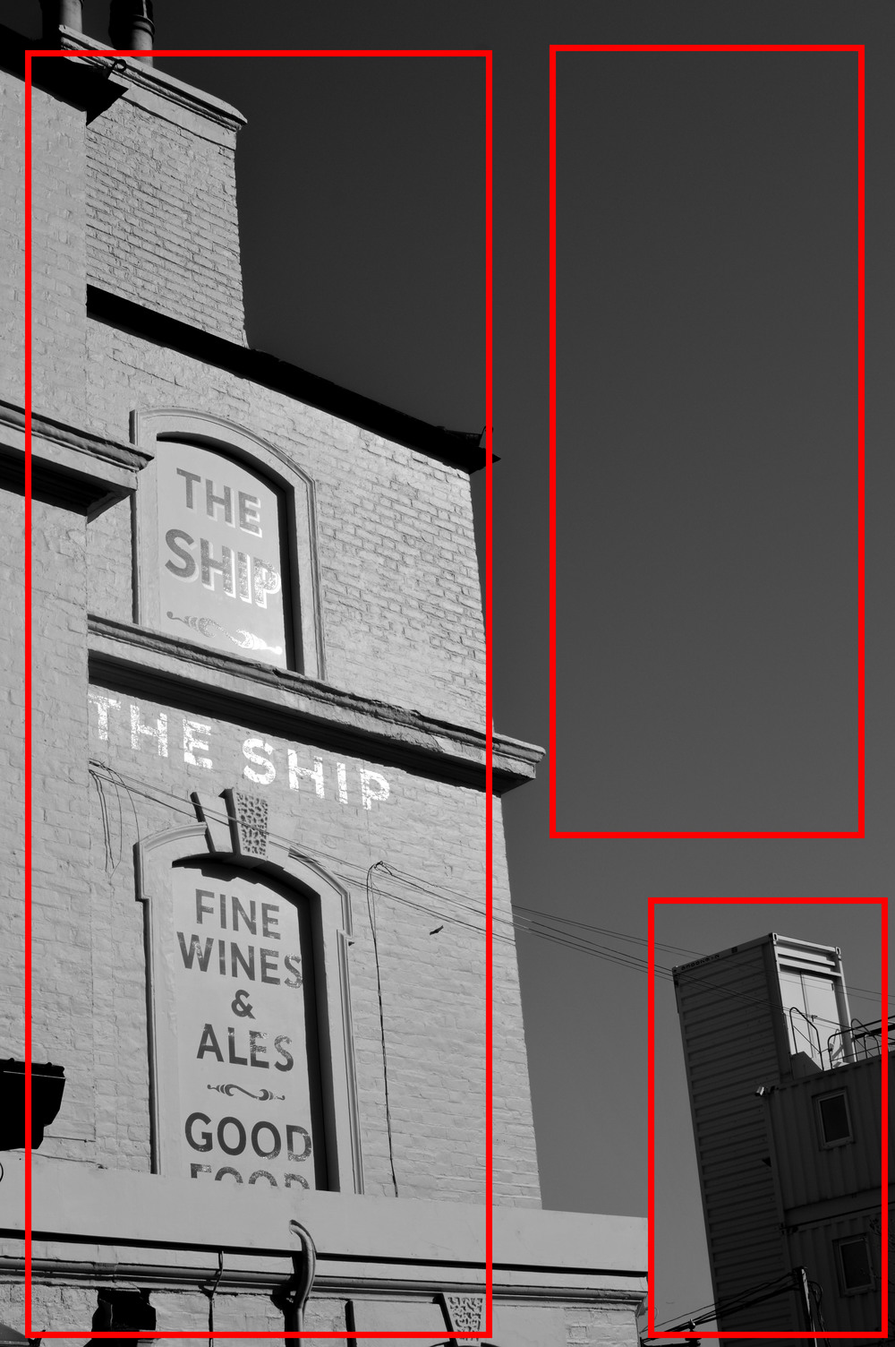Picture 3. This image of The Ship pub in  Wandsworth is slightly more complicated. The image appears completely imbalanced at first, with the pub itself taking up the bulk of the left hand side of the frame. However, the cement works in the lower right of the image and the block of clear sky help balance the picture.