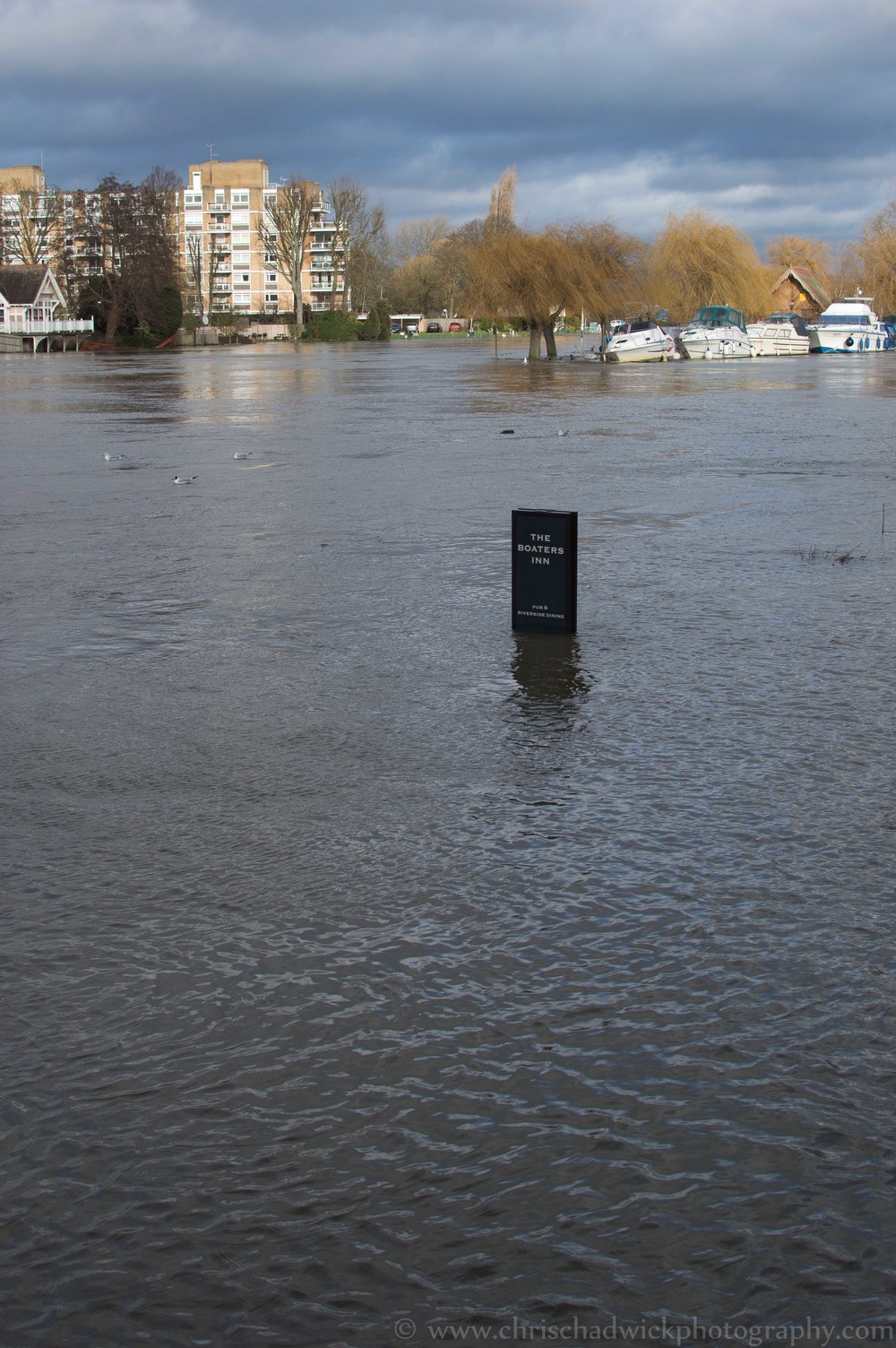 This image works quite well as it shows the extent of the flooding of the river Thames, with the water coming closer to the camera than in the landscape shot. It also mimics the shape of the sign.