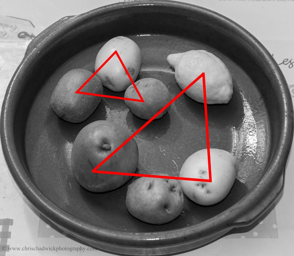 I have indicated on this final image, how I felt the points interacted once all seven items were included. Although there are other shapes of course, I felt that the obvious ones were the two triangles, both of which are quite stable - as in,  they have a flat side at the bottom as we look at the image.