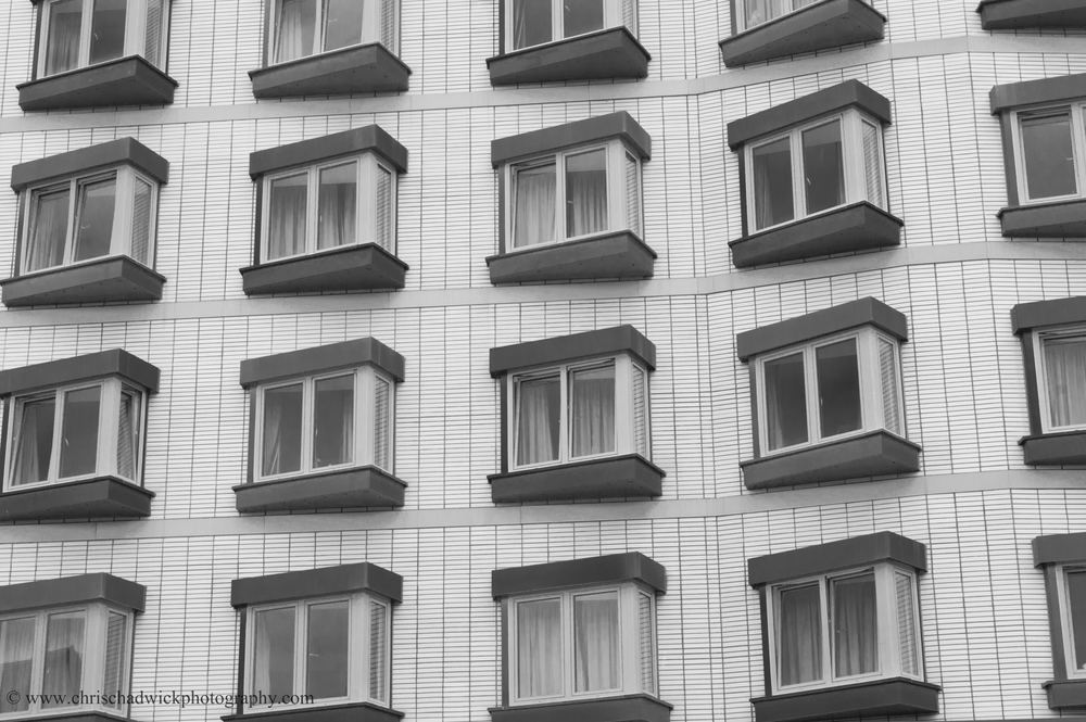 Pattern There's a clear pattern to these windows which form part of a student hall of residence.