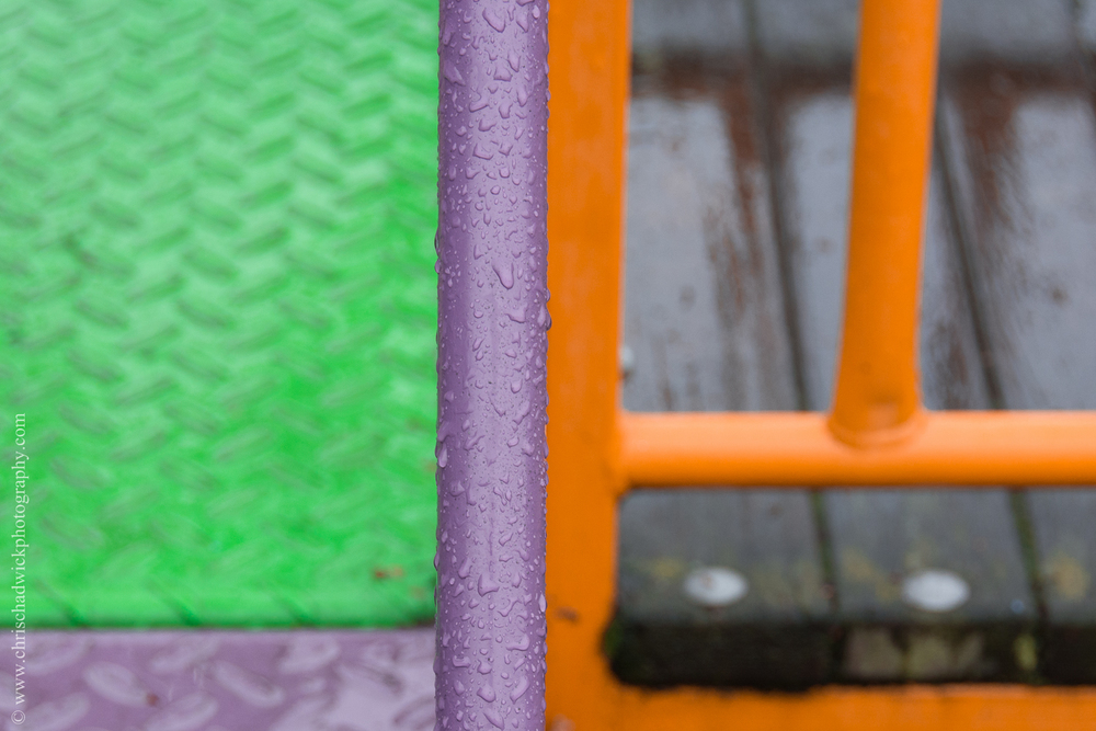 Contrasting Colours: Green, Violet and Orange.