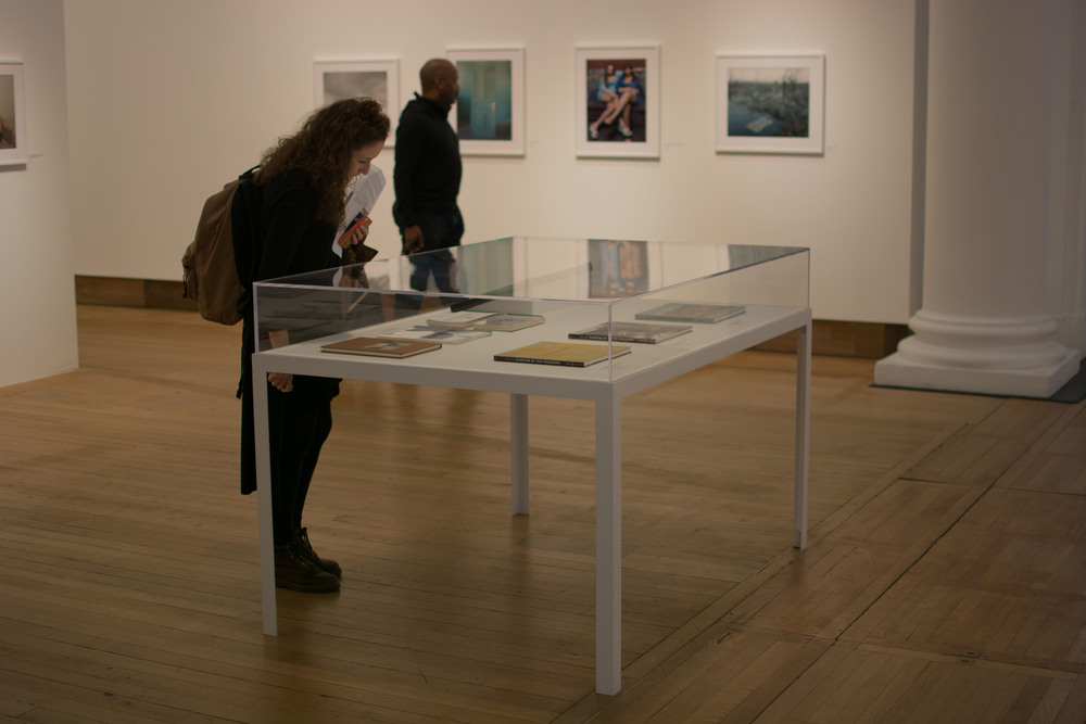 Helen and Ozzy in the first exhibition -   Sleeping by the Mississippi.   The vitrine contains the various editions of the book as it evolved from the original idea.