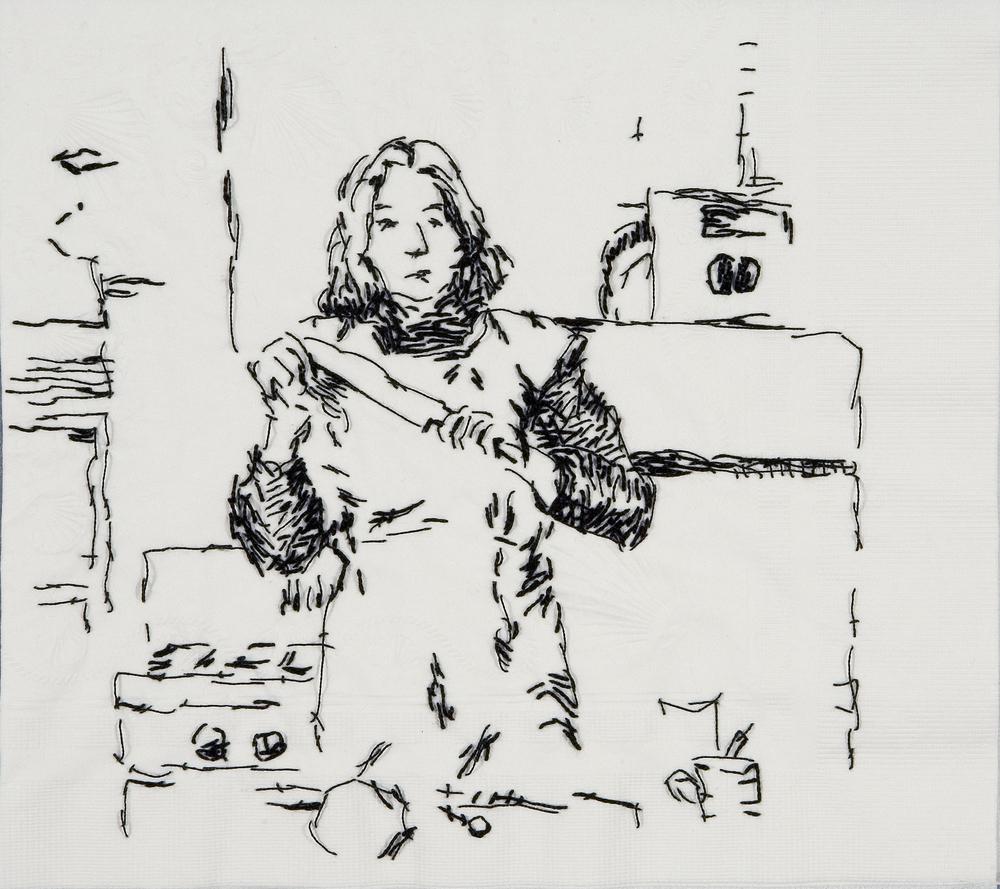 "Sister Wife Martha (Semiotics of the Kitchen, 1975)  Black thread on paper napkin, 8"" x 8.5"", 2008"