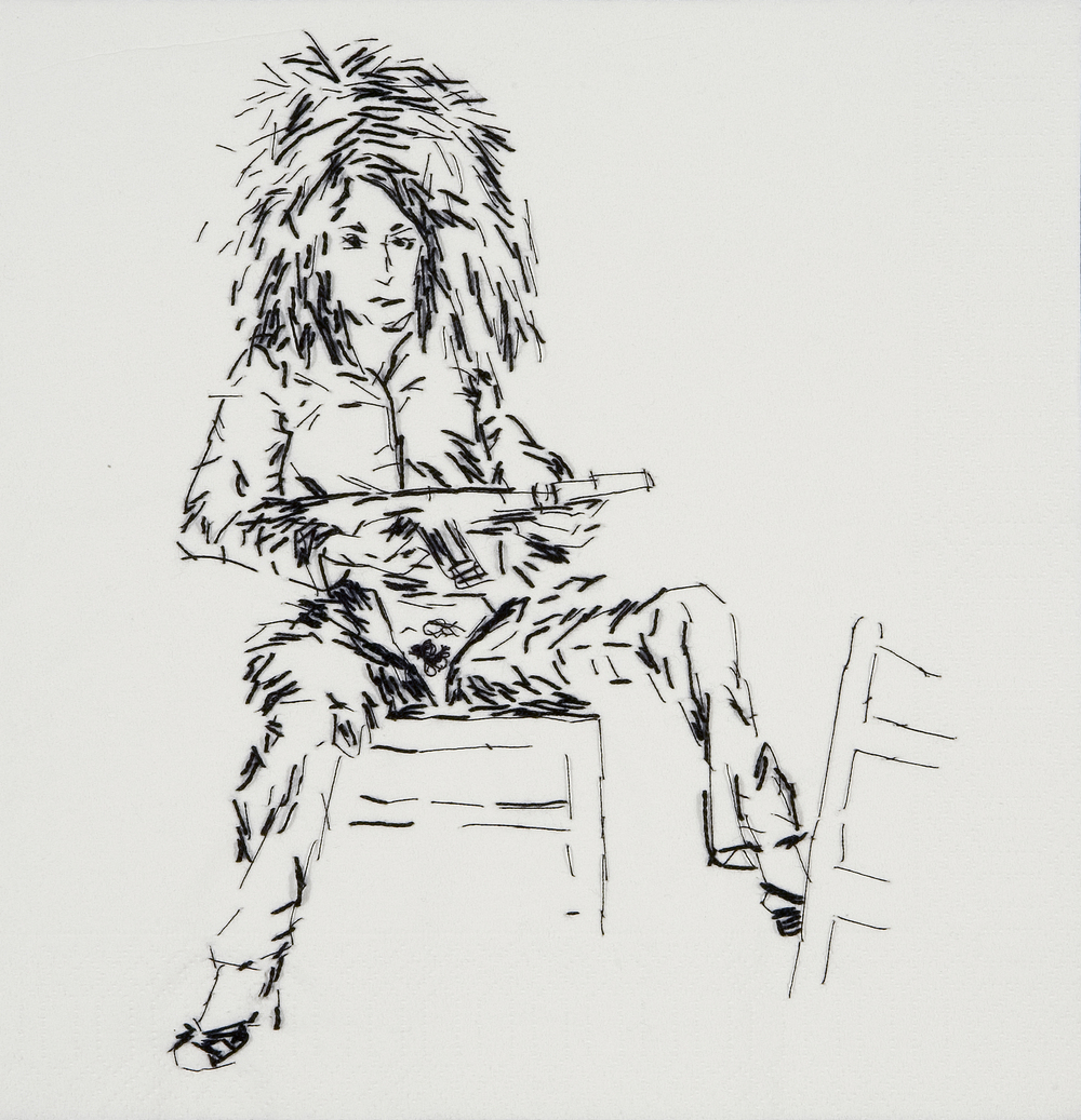 "Sister Wife Valie (Action Pants: Genital Panic, 1969)  Black thread on paper napkin, 8"" x 8"", 2008"
