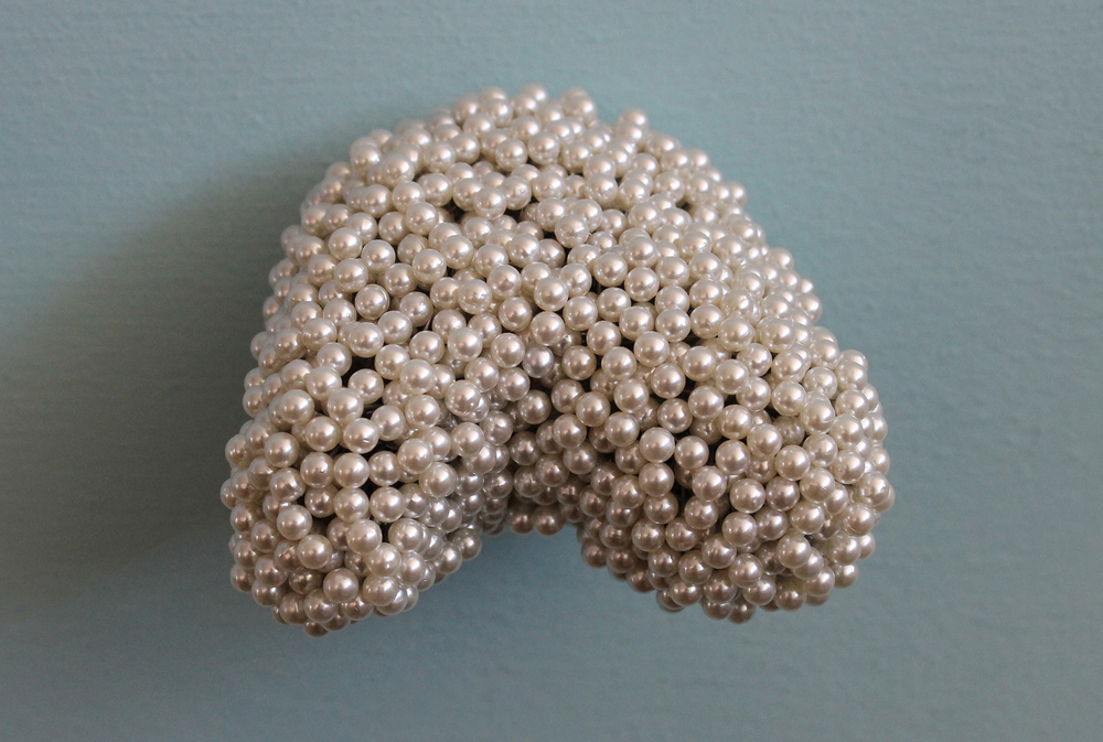 "Tickler #4  Pearl corsage pins, brass, industrial foam, 1 3/4"" x 3 1/8"" x 2 3/4"", 2012"