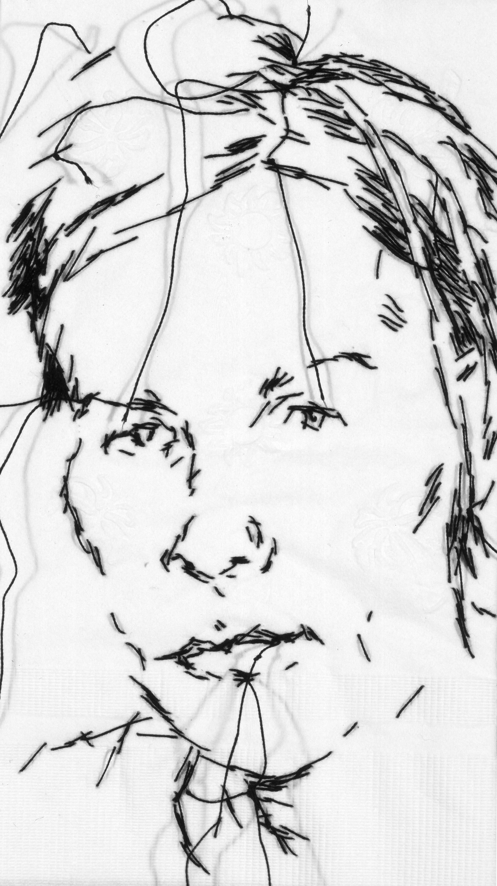 "Jes  Black thread on paper napkin, 7"" x 4"", 2007"