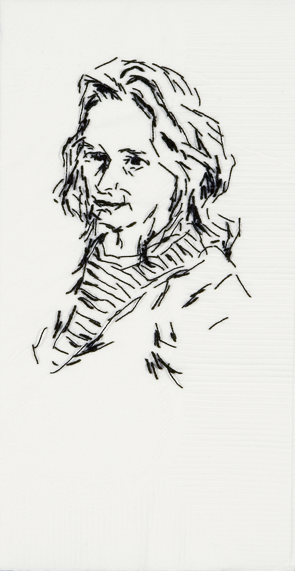 "Meg  Black thread on paper napkin, 7"" x 4"", 2008"