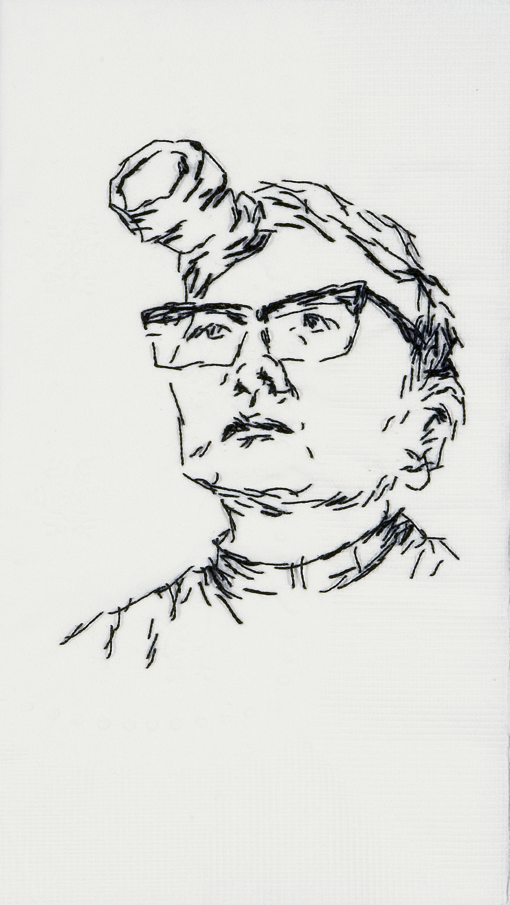 "Tina  Black thread on paper napkin, 7"" x 4"", 2008"
