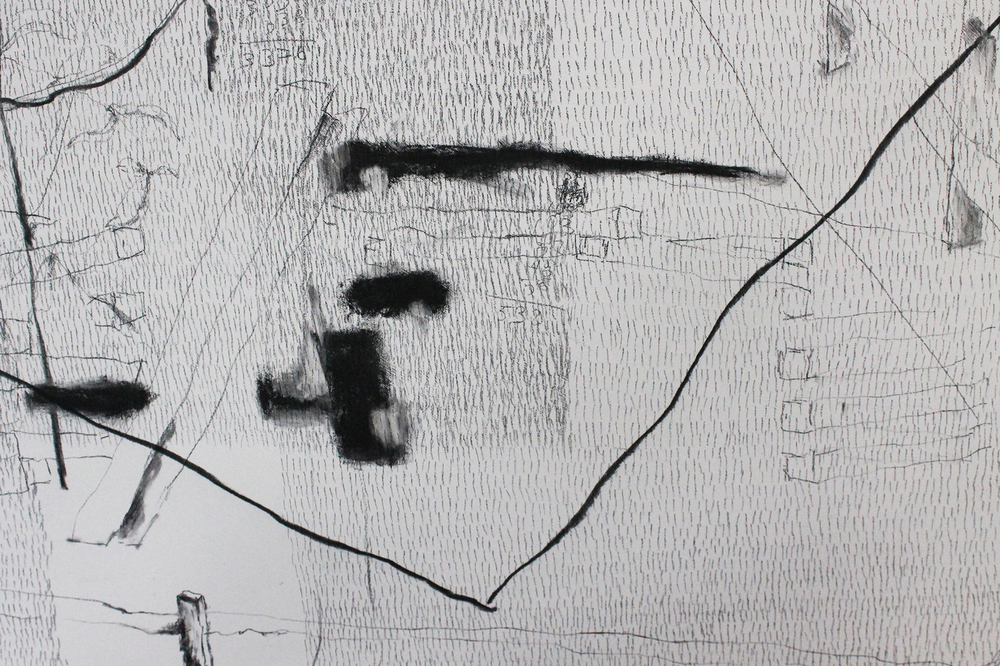 "37,702 Steps to the Cutlers (NYC and East Hampton)  (detail) Charcoal and graphite on wood, 62"" x 48"", 2011-2012"