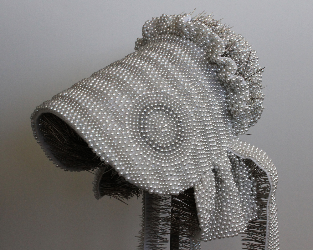 "Seer Bonnet: Clarissa (Age 15)  17,443 pearl corsage pins, fabric, steel, 66"" x 9"" x 12"", 2012-2013"
