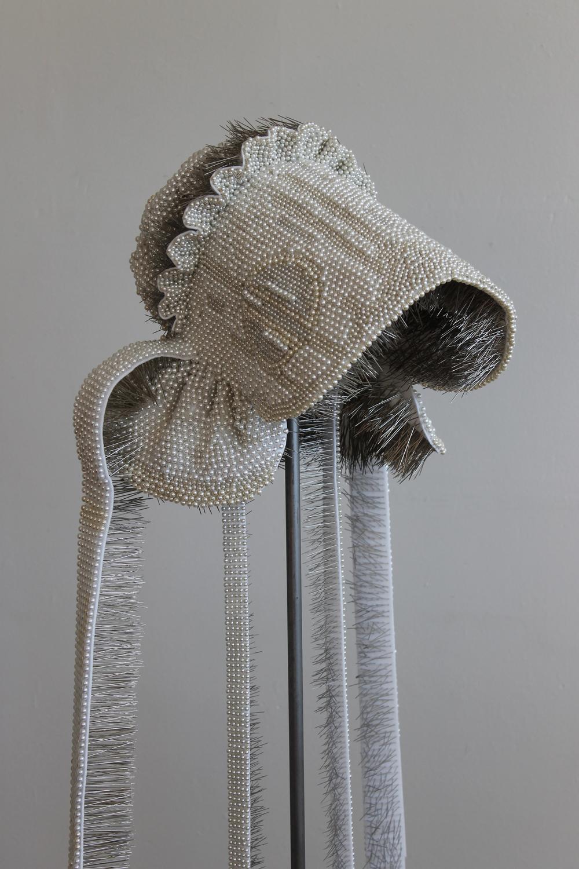 """Seer Bonnet XXII (Almera)  18,926 pearl corsage pins, fabric, steel, 63"""" x 15"""" x 15"""", 2011"""