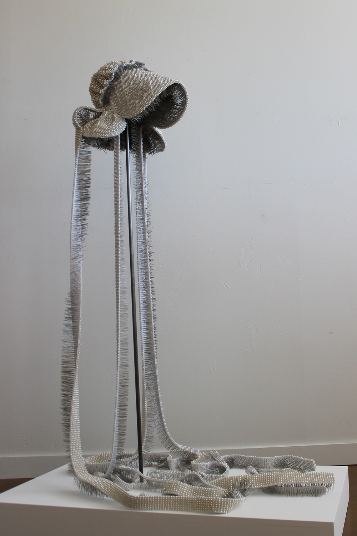 "Seer Bonnet XIX (Flora Ann)  24,182 pearl corsage pins, fabric, steel, wood, 60"" x 13"" x 16"", 2011"