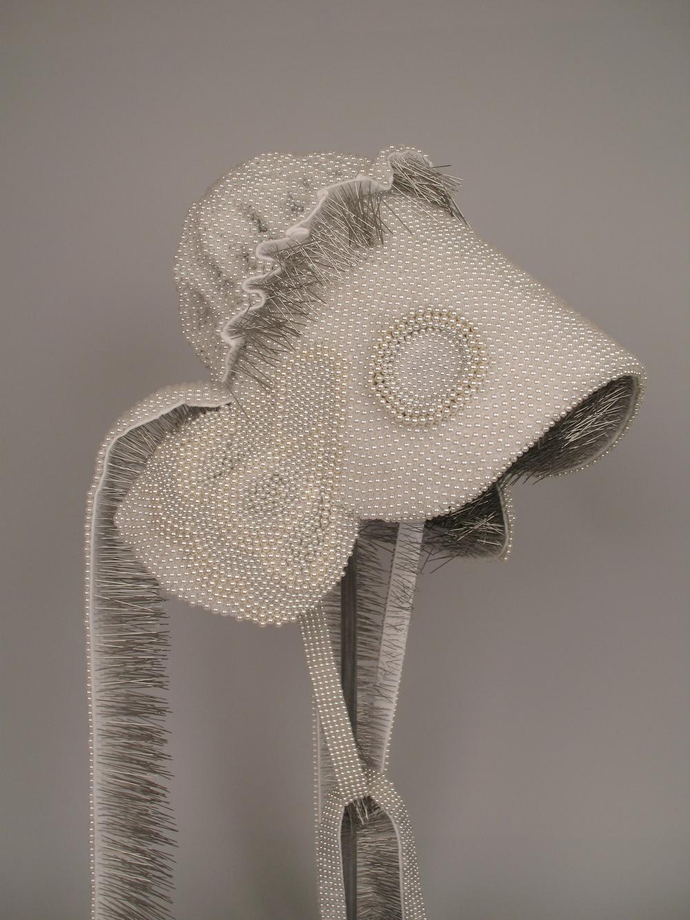 """Seer Bonnet XI  17,443 pearl corsage pins, fabric, steel, 60"""" x 12"""" x 15"""", 2010"""