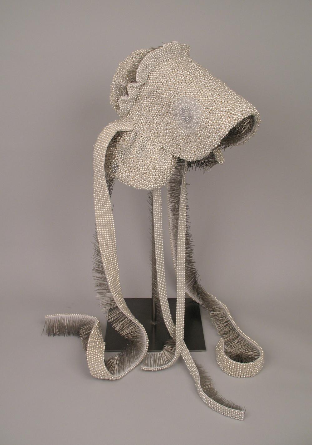 "Seer Bonnet IX (Sylvia)  19,952 pearl corsage pins, fabric, steel, 28.5"" x 12"" x 15"", 2010"