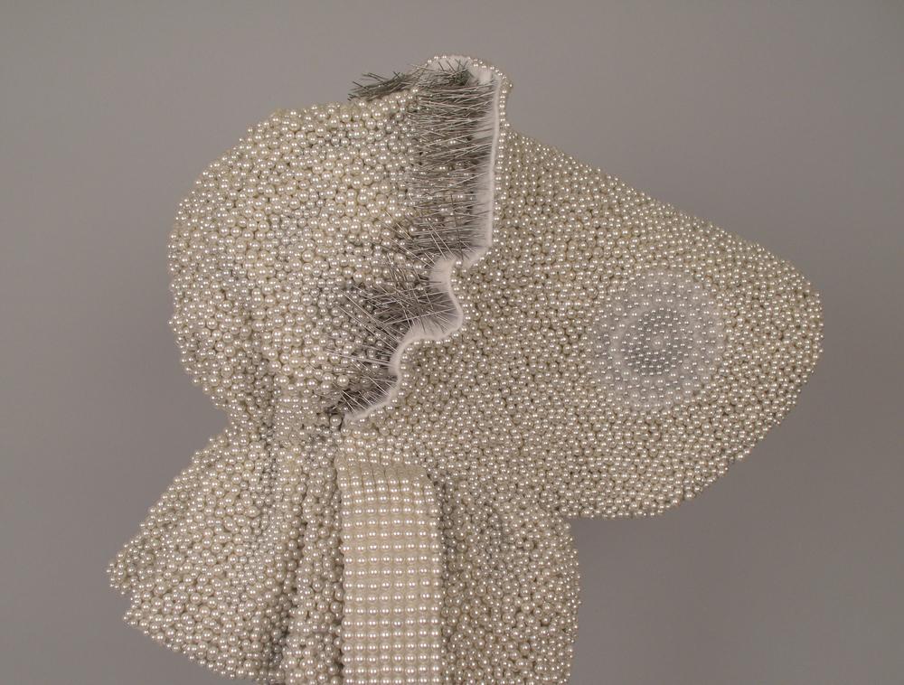 "Seer Bonnet IX(Sylvia) (detail) 19,952 pearl corsage pins, fabric, steel, 28.5"" x 12"" x 15"", 2010"