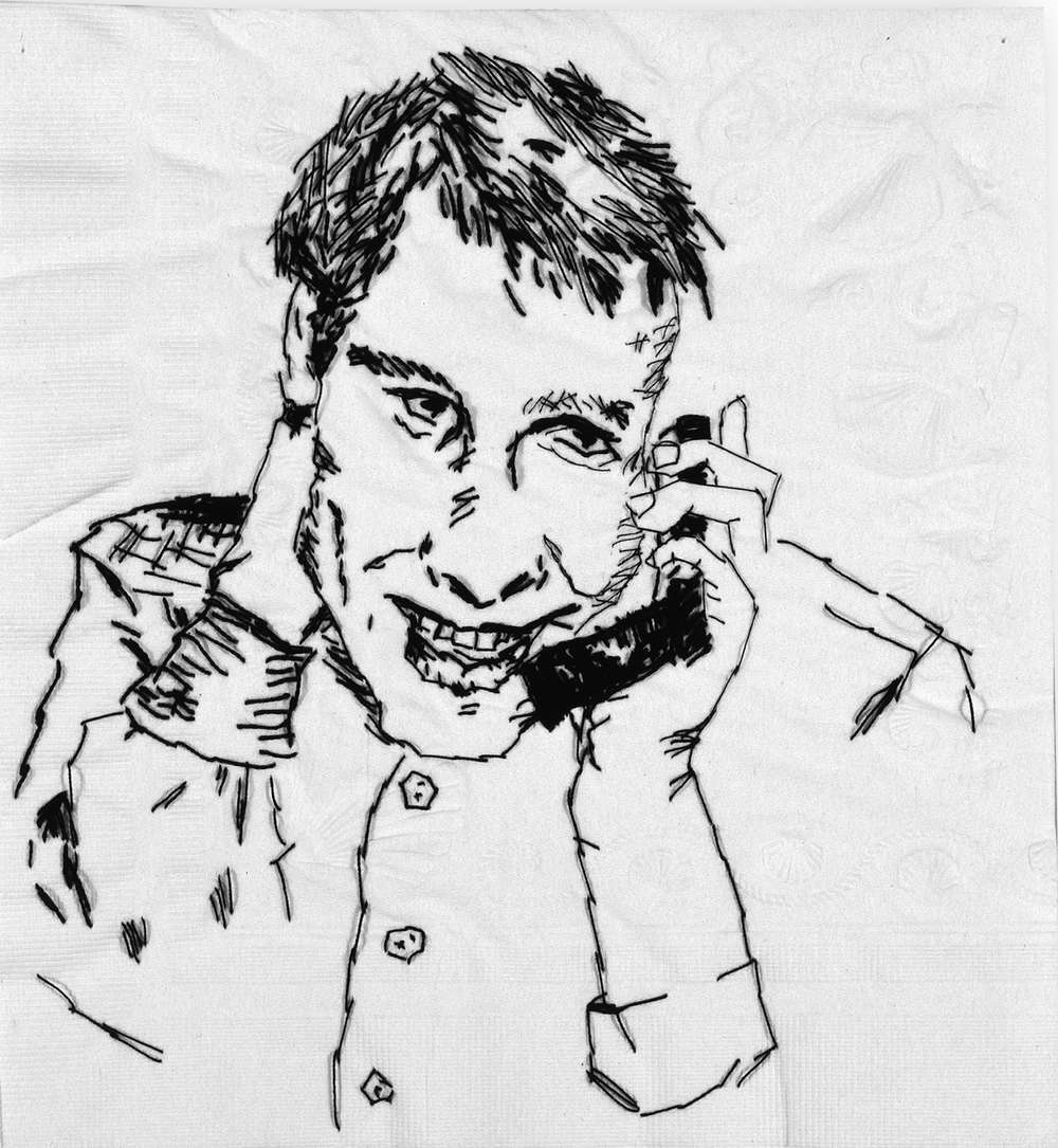 "Ryan II  Black thread on paper napkin, 7"" x 4"", 2005"