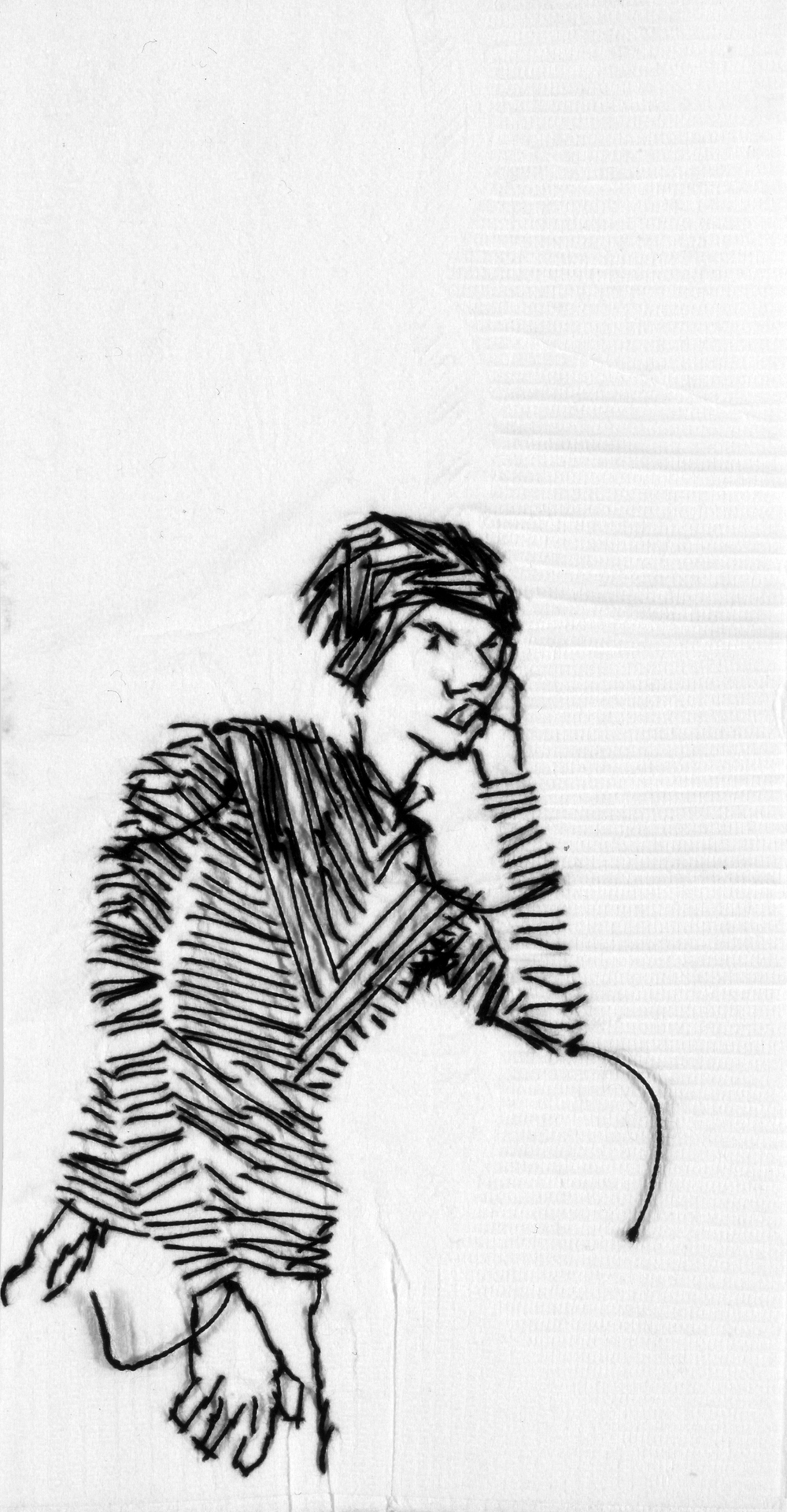 "Ryan I  Black thread on paper napkin, 7"" x 4"", 2004"