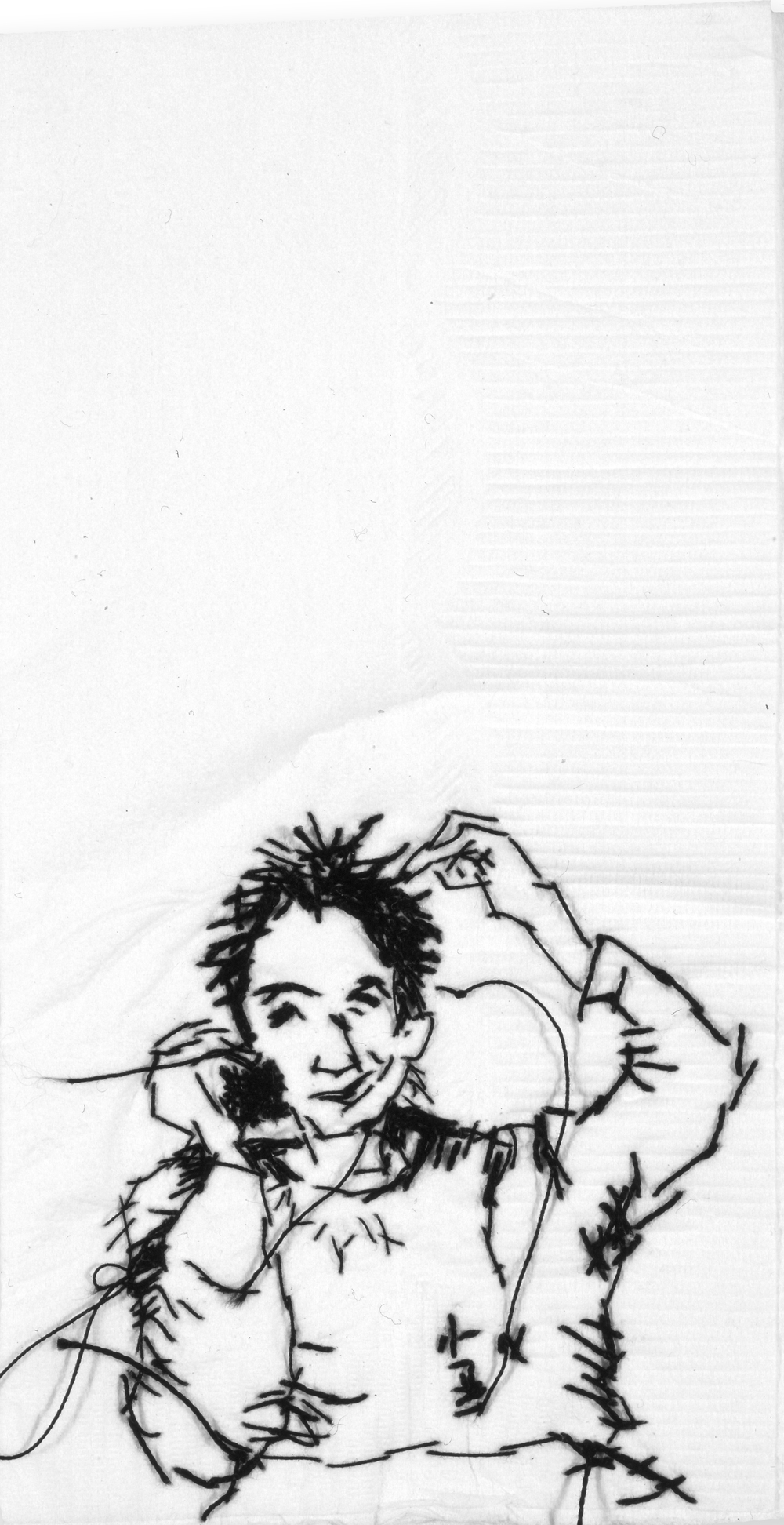"Andy  Black thread on paper napkin, 7"" x 4"", 2003"