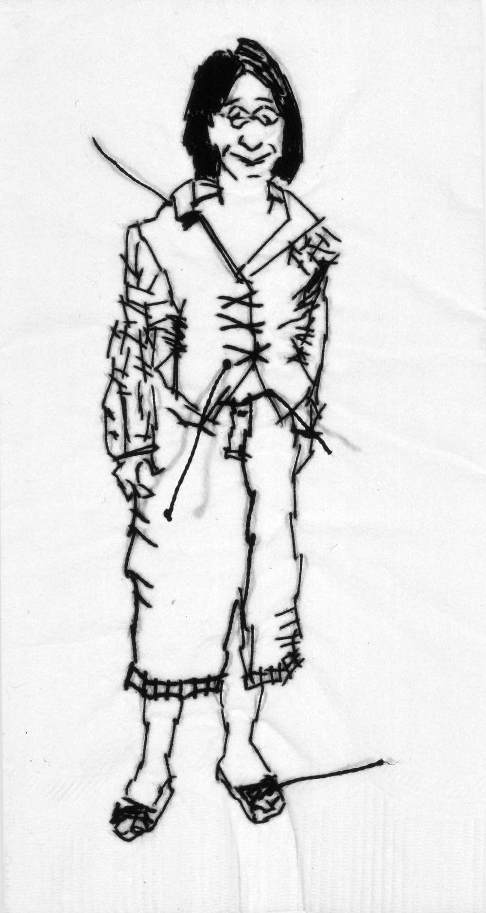 "Carrie  Black thread on paper napkin, 7"" x 4"", 2003"