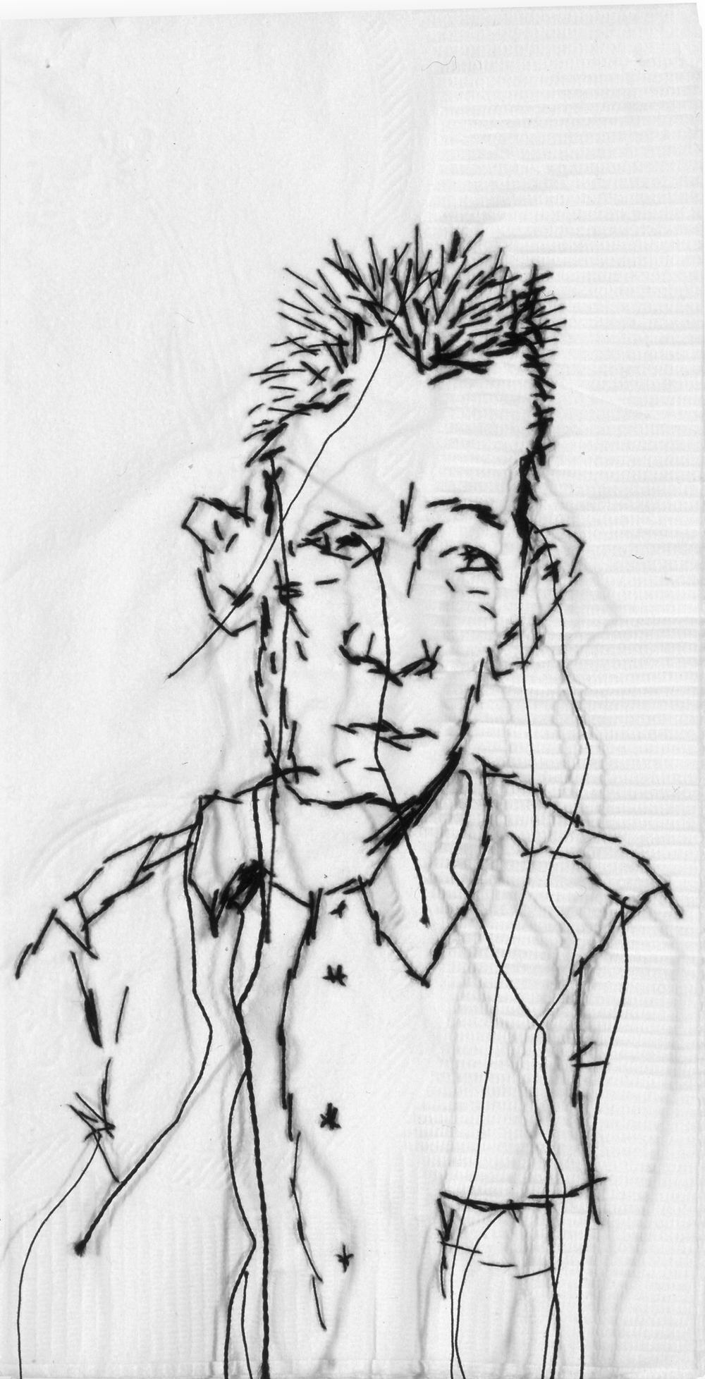 "Kyle  Black thread on paper napkin, 7"" x 4"", 2005"