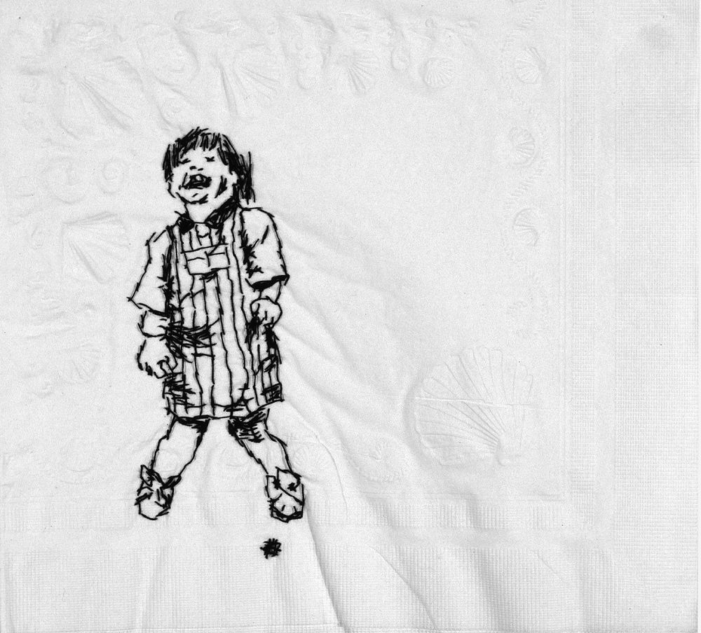 "Isabelle  Black thread on paper napkin, 7"" x 4"", 2005"