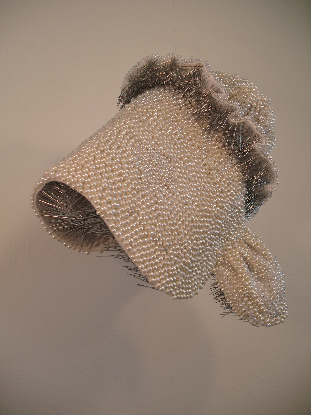 Seer Bonnet I   11,448  pearl corsage pins and fabric, 2008