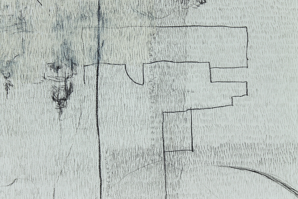 "10,639 Steps to Catch My Breath (detail) , Graphite, charcoal, oil on paper, 14.2"" x 17.5"", 2010"