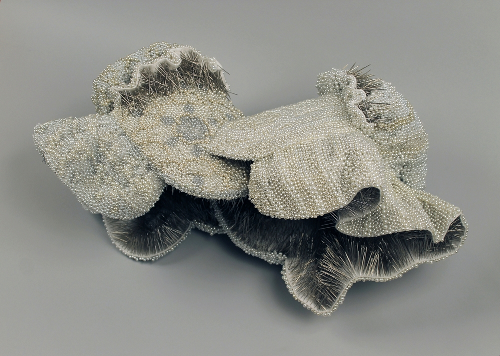 "Close to You,  25,747 pearl corsage pins, fabric, steel, 12"" x 24"" x 13"", 2013-2014"