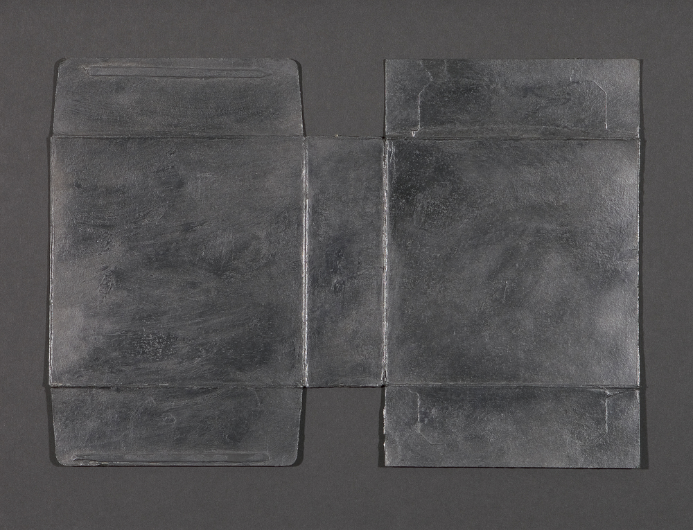 "Untitled Gesture (Couple)  Graphite powder and archival wax on cardboard, 9"" x 13"", 2013"