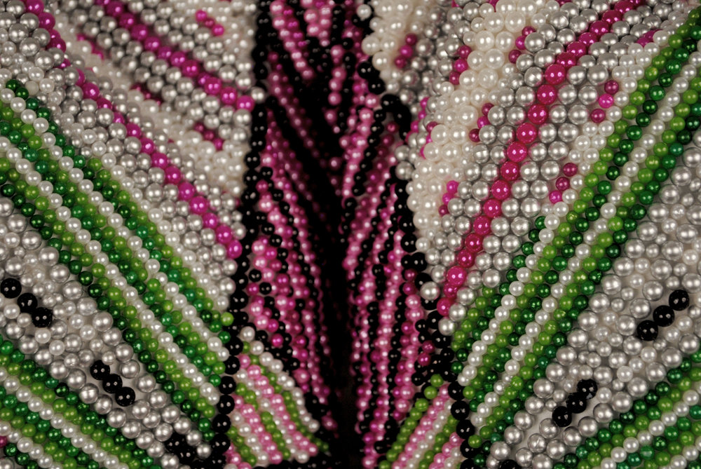 Pantaloncini: Work No. (indeterminate radiance) (Emma) (detail)  50,930 pearl corsage pins and colored dress pins, fabric, steel, 28 x 35 x 11 inches, 2017