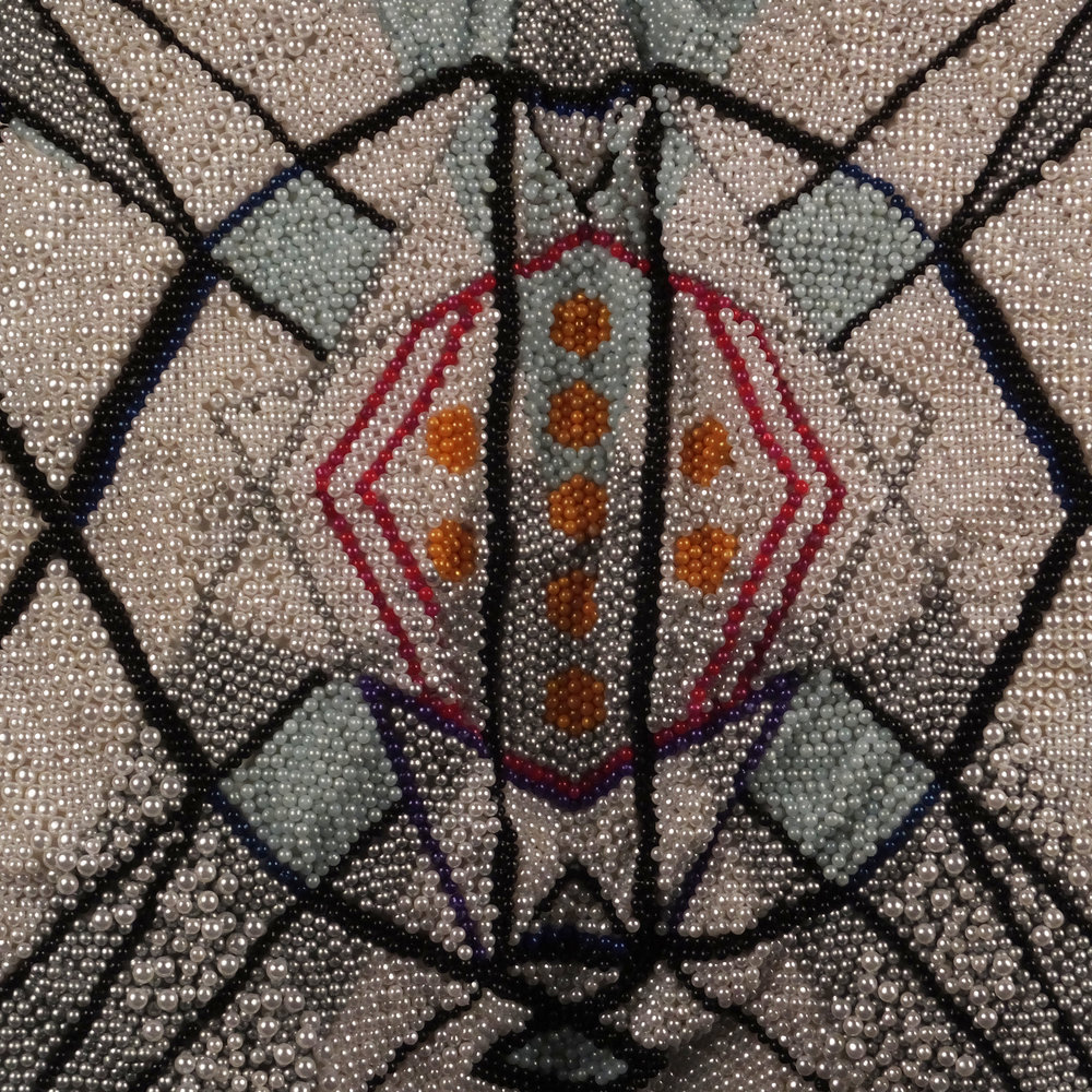 Pantaloncini: Work No. 064 (Emma) (detail) (SOLD)  Over 100,000 pearl corsage pins and colored dress pins, fabric, steel, 23 x 29 x 11 inches, 2016